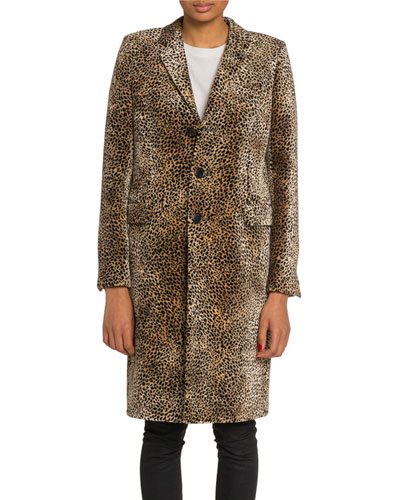 Mini Leopard Print Velvet Coat