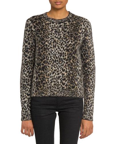 Leopard Print Fuzzy-Wool Sweater