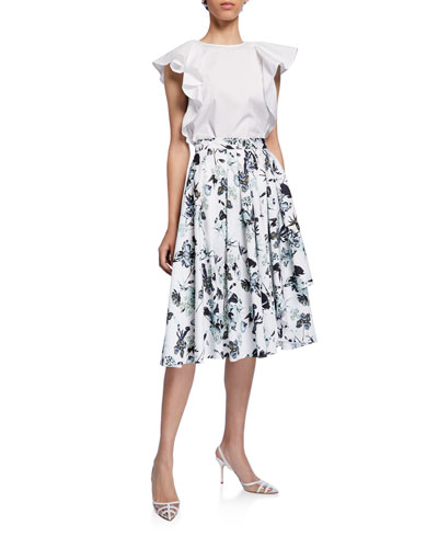Pleated Floral-Print Poplin Skirt