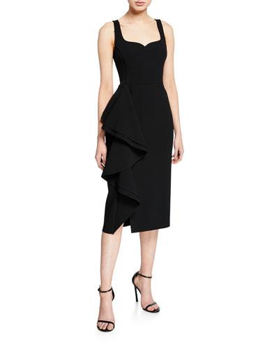Ruffled Compact Crepe Dress