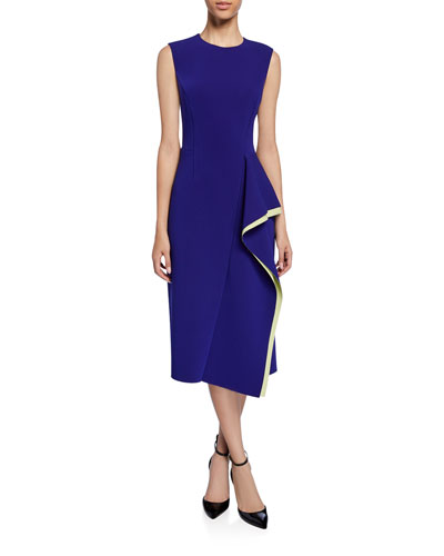 Compact Crepe Cascading Midi Dress