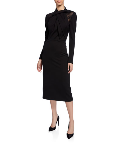 Long-Sleeve Twisted Ponte Midi Dress