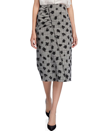 Floral Plaid Ruched Pencil Skirt