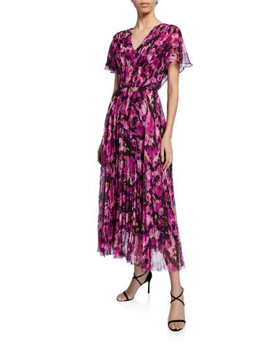 Floral-Printed Chiffon Midi Dress