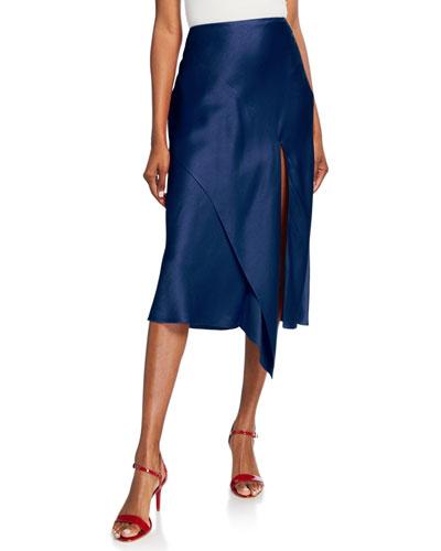 Draped Satin Midi Skirt