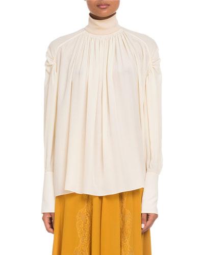 High-Neck Silk Georgette Blouse