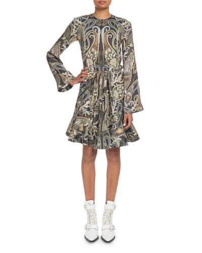 Metallic Paisley Bell-Sleeve Dress
