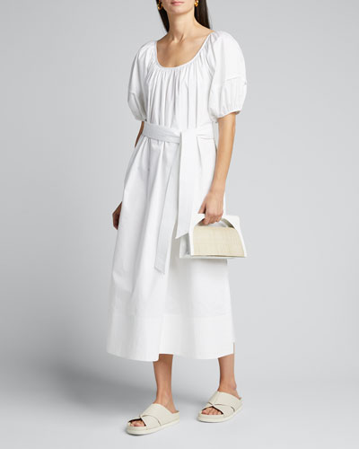 Puff-Sleeve Tie-Waist Poplin Maxi Dress