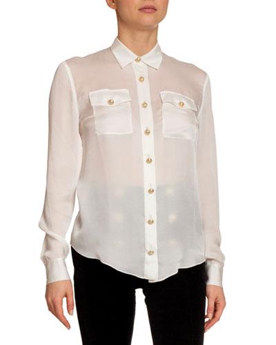 Silk 2-Pocket Button-Front Blouse