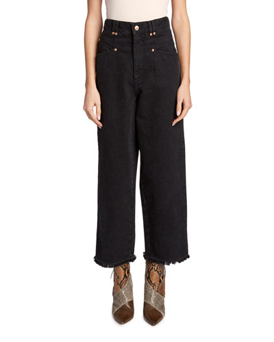 Frayed-Cuff Wide-Leg Crop Jeans