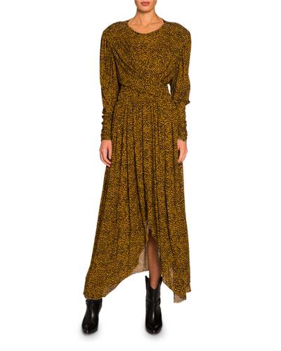 Floral-Print Jersey Asymmetric Dress