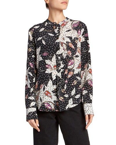 Floral Print Button-Front Silk Blouse
