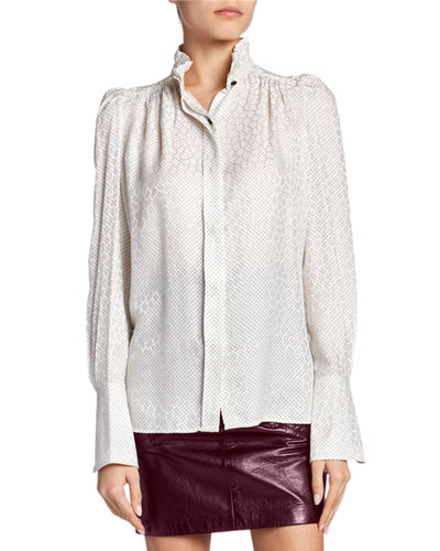 Jacquard Silk High-Neck Button-Front Top