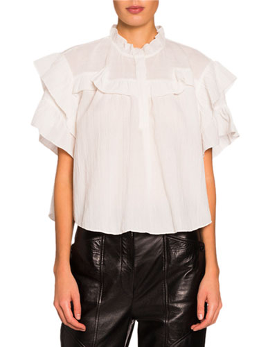Ruffled High-Neck Top