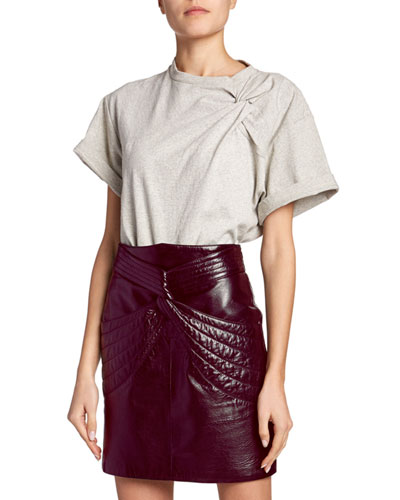 Gathered-Shoulder Short-Sleeve Top