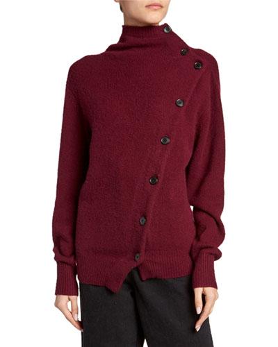 Cashmere Asymmetric Button-Front Sweater