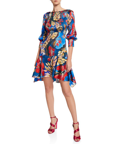 Floral Boat-Neck Flounce Mini Dress