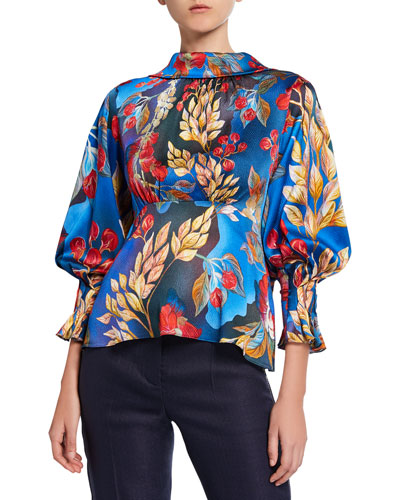 Floral Crepe Bow-Back Blouse
