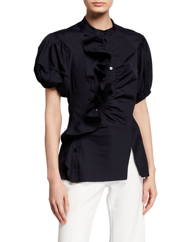 Cotton Puff-Sleeve Frill Blouse