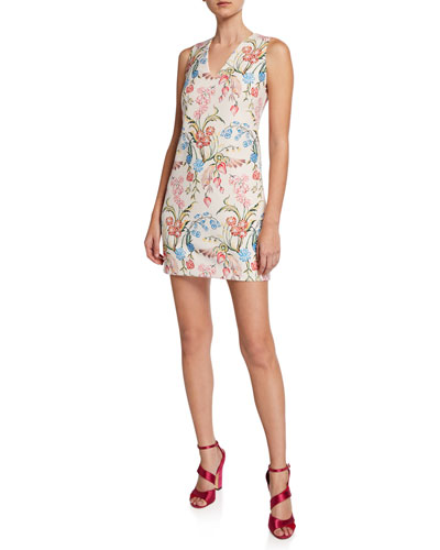 Sleeveless Floral Print Cady Dress