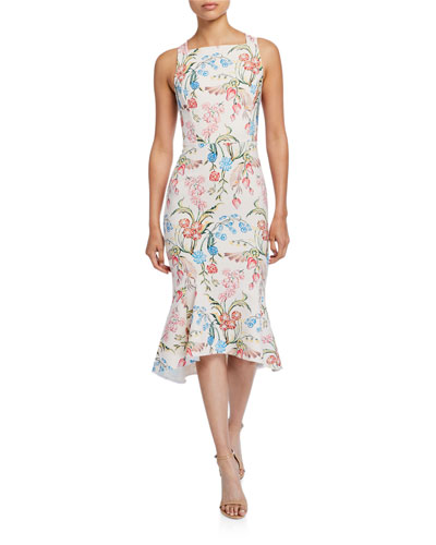 Floral-Print Cady Square-Neck Dress