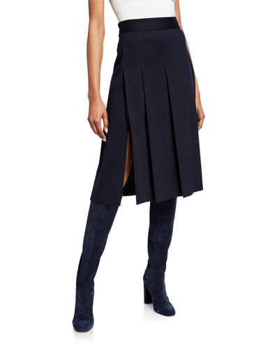 Pleated Wool-Jersey Skirt