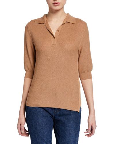 Cashmere/Silk Short-Sleeve Pique Polo Shirt