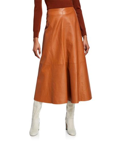 Leather A-line Midi Skirt