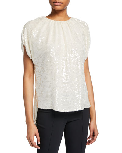 Sequined Shirred-Neck Blouse