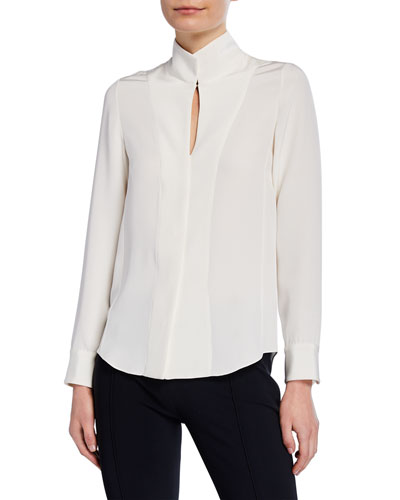 Fitted Stand-Collar Silk-Crepe Blouse