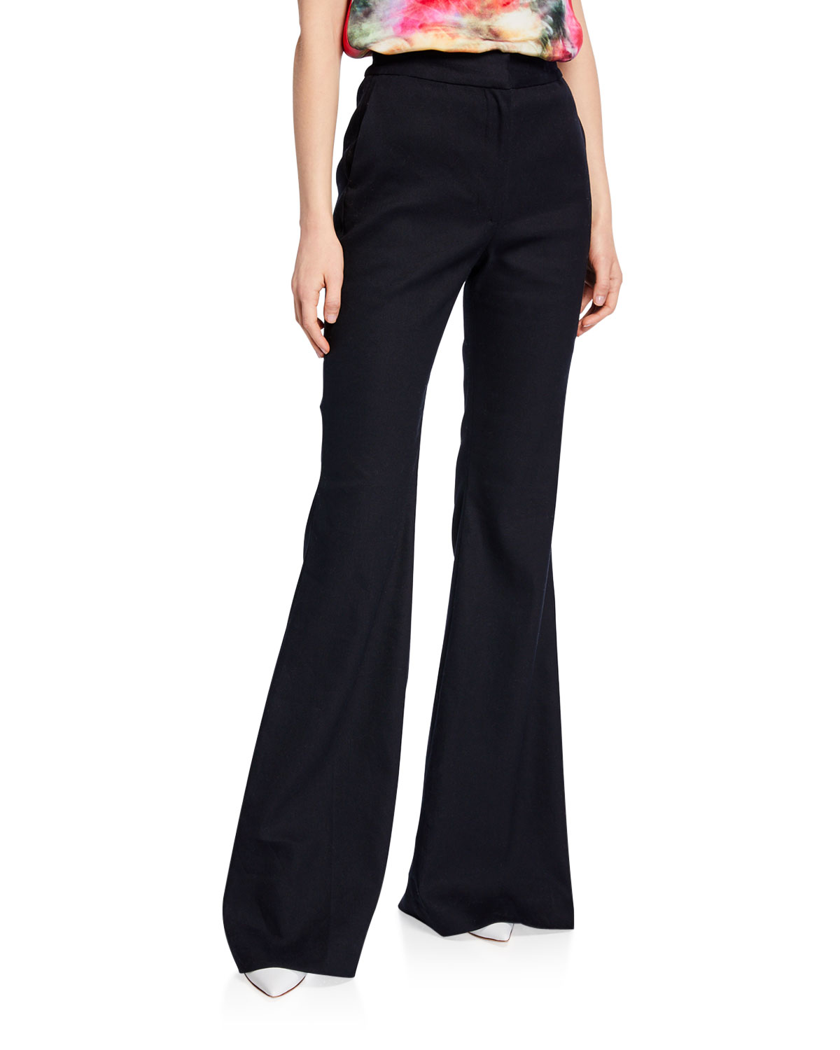 Adam Lippes Pants TEXTURED HIGH-RISE FLARE PANTS