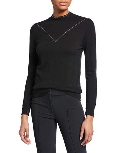 Crystal-Embroidered Wool Mock-Neck Sweater