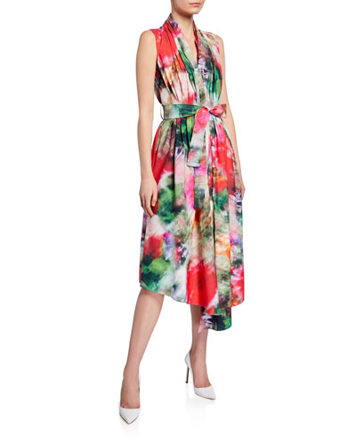 Belted Tie-Dye-Poplin Asymmetric Dress