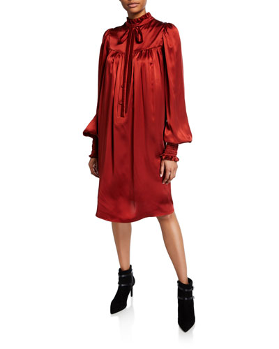Ruffled Charmeuse Blouson-Sleeve Dress