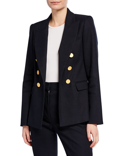 Double-Breasted Textured Blazer