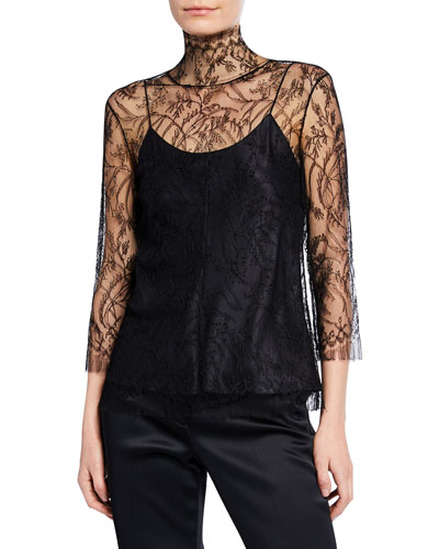 3/4-Sleeve Chantilly Lace Turtleneck Blouse with Cami