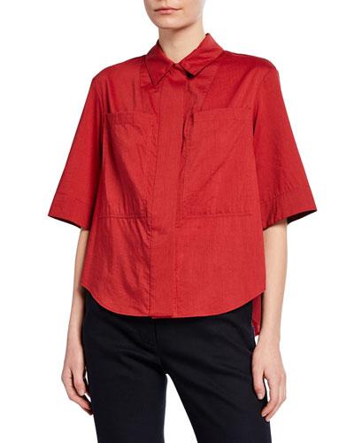 Short-Sleeve Cotton-Voile Safari Shirt