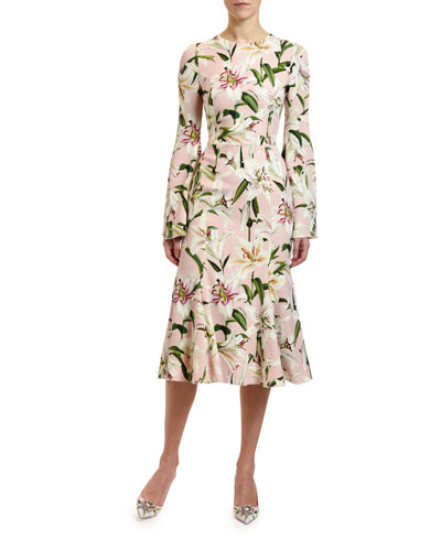 Long-Sleeve Lily Floral Cady Dress