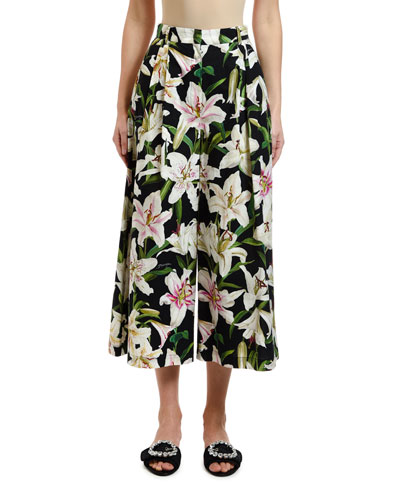Lily Floral Poplin Cropped Wide-Leg Pants