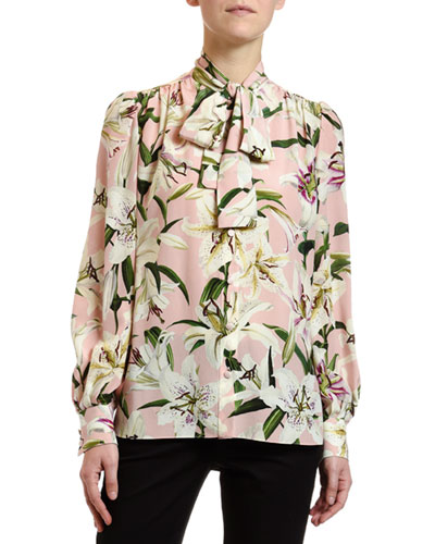 Long-Sleeve Lily-Print Crepe de Chine Blouse