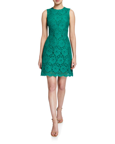 Sleeveless Lace Dress, Green