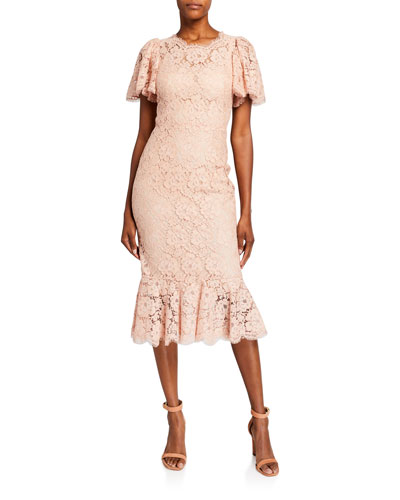 Flutter-Sleeve Lace Dress