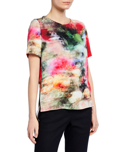 Abstract Print Satin Crepe T-Shirt