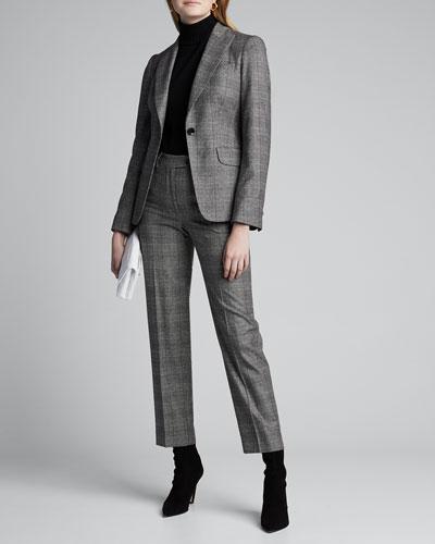 Checked Wool-Cashmere One-Button Blazer