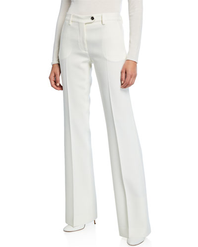 Wool Crepe Flare-Leg Pants