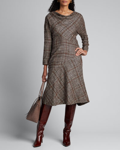 Cashmere Silk Check-Patchwork Cowl-Neck Dress