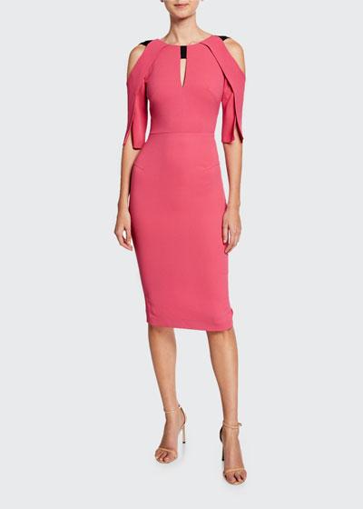 Keeling Keyhole Slit-Sleeve Midi Sheath Dress
