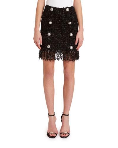 8-Button Fringed Tweed Skirt