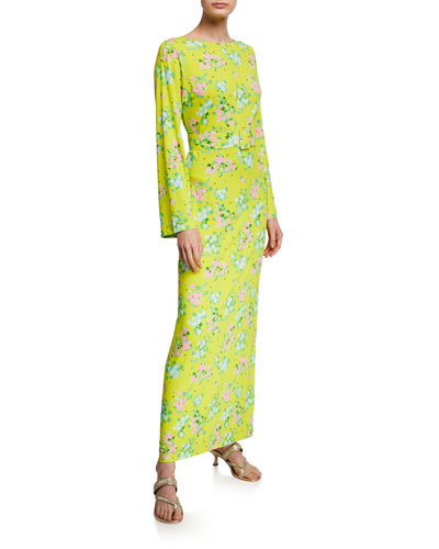 Monica Floral Viscose Jersey Belted Column Dress