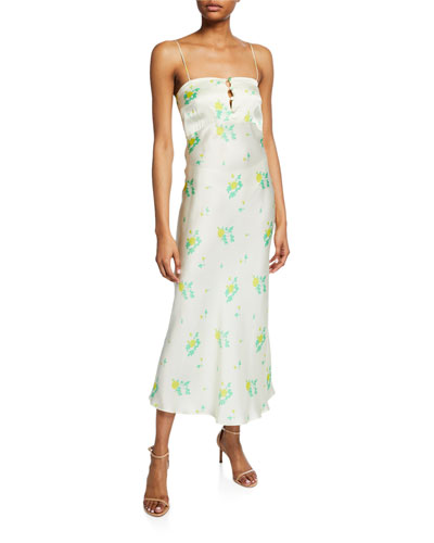 Florence Floral-Print Silk Cocktail Dress
